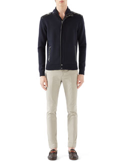 Navy Full Zip w/ Leather Trim & Tan Riding Pants w/ Side Web Detail