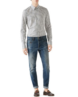 White/Grey Horse Bit Print Long-Sleeve Shirt & Blue Washed Denim w/ Slight Distressing