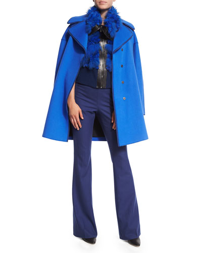 Louisa Coat W/Contrast Trim, Karina Fur Vest W/Leather Trim & Marg High-Waist Flare-Leg Pants
