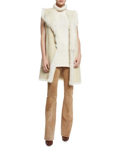 Curako B. Hollice Fur Vest, Vandrona Sleeveless Turtleneck Sweater & Ilayda Classic Suede Pants