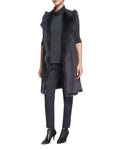 Curako B. Hollice Fur Vest, Taj Delfina Two-Tone Turtleneck Sweater & Thorene Flannel Cropped Pull-On Pants