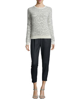 Salomay Leopard-Print Knit Sweater & Thorene Flannel Cropped Pull-On Pants