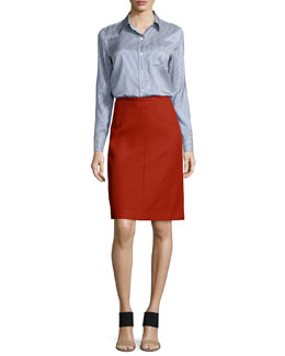 Simara Striped Silk Button-Down Blouse & Midi Camden Twill Skirt