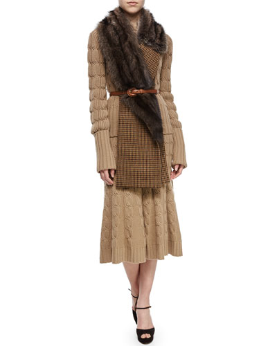 Aran Cashmere-Blend Mixed-Knit Sweater, Fox Fur Houndstooth Woven Muffler, Leather Wide-Buckle Belt & Aran Cashmere-Blend Cable-Knit Trumpet Skirt