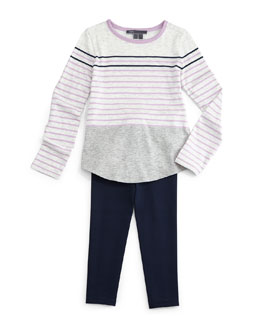 Striped Colorblock Tee & Ponte Ankle Leggings
