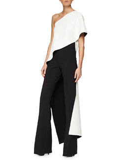 Bonded Silk Bias Top & High-Rise Flared Crepe Pants
