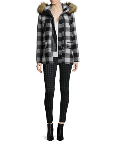 Roni River Plaid Coat with Faux-Fur Hood, Arama Ruffle-Front Silk Top & Keena Check-Print Ponte Leggings