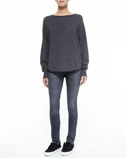 Fine Gauge Cashmere Sweater & Straight Slim Whiskered Jeans