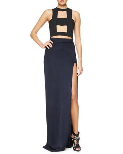 Cutout-Front Crop Top & High-Slit Full-Length Skirt