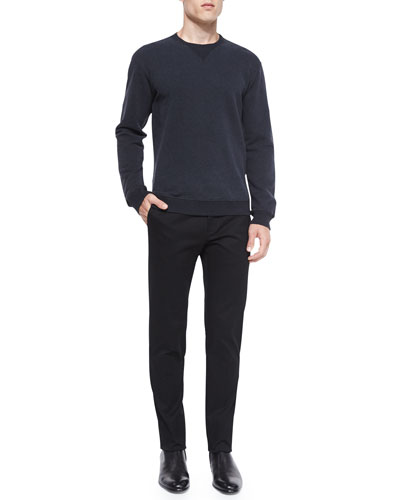 Crewneck Sweatshirt with Leather Patches & Slim-Fit Twill Trousers