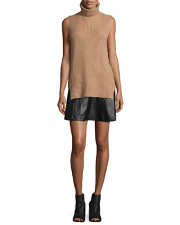 Ribbed Sleeveless Turtleneck Sweater & Pleated Leather Skirt