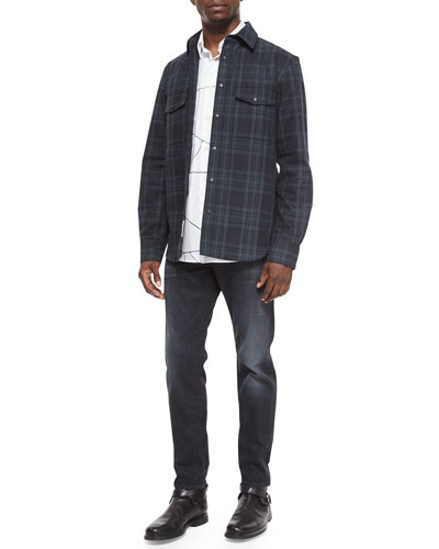 Plaid Jacket with Elbow Patches, Leaf-Print Long-Sleeve Woven Shirt & Slim-Fit Faded Denim Jeans