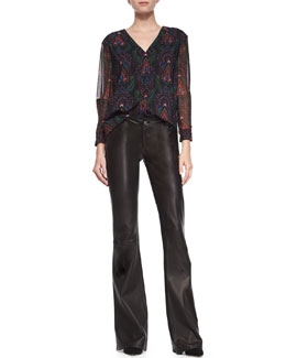 Fall Garden V-Neck Blouse & Leather Flared Pants