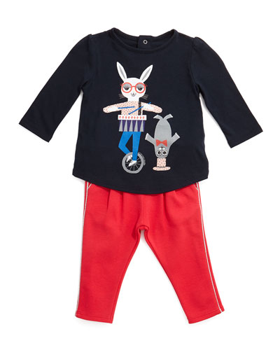 Circus Animal Jersey Tee & Metallic-Trim Knit Leggings