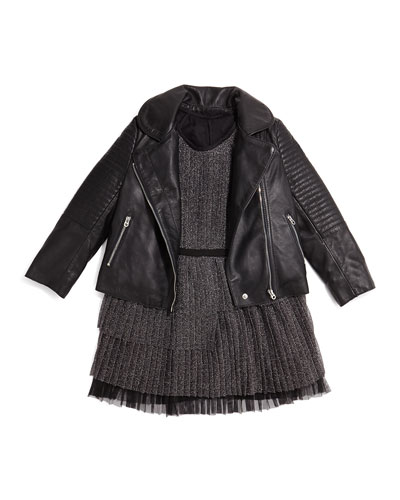 Leather Motorcycle Jacket & Pleated Tulle Party Dress