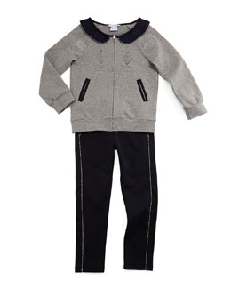 Zip-Front Mouse Sweater & Slim-Fit Knit Pants