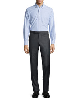 Striped-Collar Oxford Shirt & Low-Rise Twill Pants