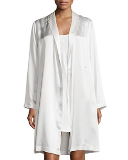 Silk Scoop-Neck Chemise & Long-Sleeve Short Robe