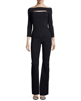3/4-Sleeve Peekaboo Top & Pull-On Boot-Cut Pants