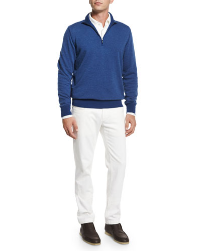 Roadster Half-Zip Cashmere Sweater, Andre Long-Sleeve Polo Shirt & Four-Pocket Cotton-Stretch Jeans