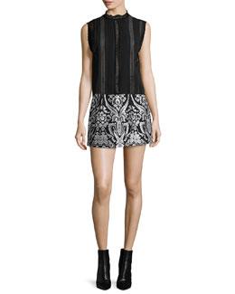 Rhona Sleeveless Lace-Trim Chiffon Blouse & Loran Structured Floral Lantern Skirt
