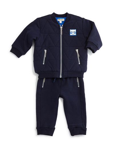 Quilted Zip-Front Jacket & Knit Zip-Trim Sweatpants, Marine Blue