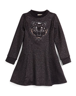 Long-Sleeve Metallic Fit-and-Flare Dress, Black
