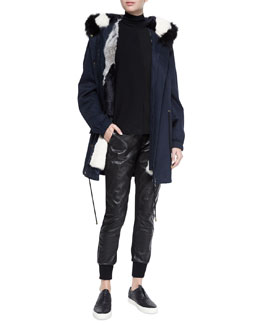 Fur-Lined Hooded Parka, Laser-Cut Sleeveless Turtleneck Top & Leather Belted Jogger Pants