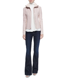 Funnel-Neck Lambskin Jacket, Laser-Cut Sleeveless Turtleneck Top & Dark-Wash Flared Jeans