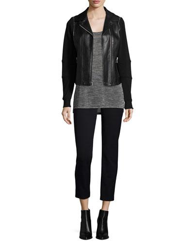 Mixed Media Hooded Moto Jacket, Space-Dye Short-Sleeve Tee & Slim-Fit Side-Zip Trousers