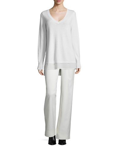 Mixed-Media Layered V-Neck Sweater & Wide-Leg Wool-Blend Trousers