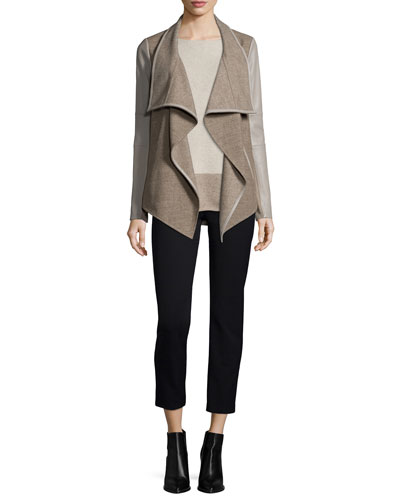 Mixed-Media Draped Jacket & Intarsia Colorblock Cashmere-Blend Sweater