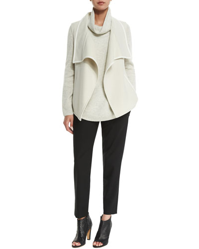 Drape-Collar Vest with Leather Trim, Side-Zip Ribbed Turtleneck Sweater & Satin-Striped Tuxedo Trousers