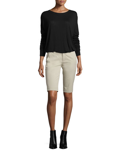 Dropped-Shoulder Long-Sleeve Shirt & Side-Buckle Bermuda Shorts