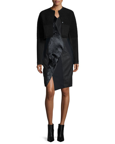 Blakeley Boucle Cropped Jacket & Mariah Mixed-Media Sheath Dress