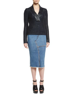 Glossed Wool Shawl-Collar Sweater & Stretch-Denim Patched-Seam Pencil Skirt