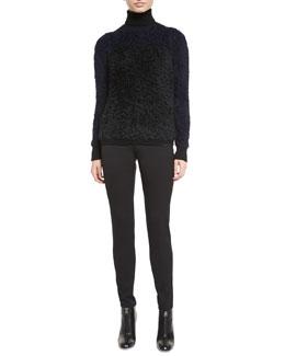 Alpaca-Blend Bicolor Turtleneck Sweater & High-Waist Slim-Fit Gabardine Pants