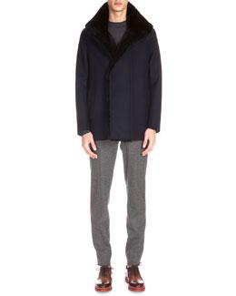 Fur-Lined Wool Jacket & Cashmere-Blend Crewneck Sweater