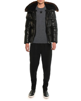 Leather Puffer Jacket with Opossum Fur, Crewneck Star Sweatshirt & Wool Jogger Pants