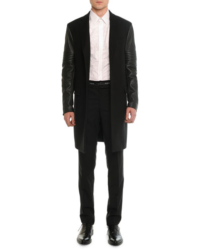 Leather Moto Sleeve Wool Overcoat, Lace-Front Poplin Shirt & Logo-Waist Wool Trousers