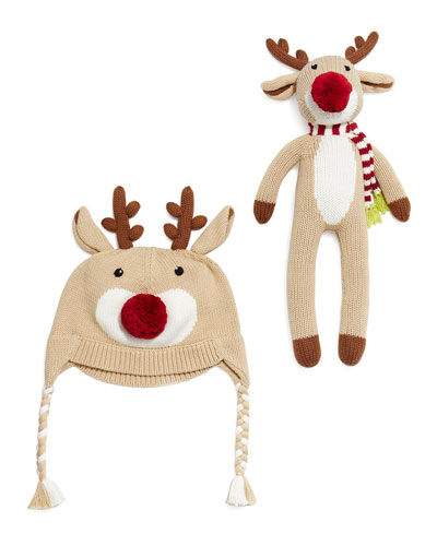 Knit Reindeer Hat & Doll