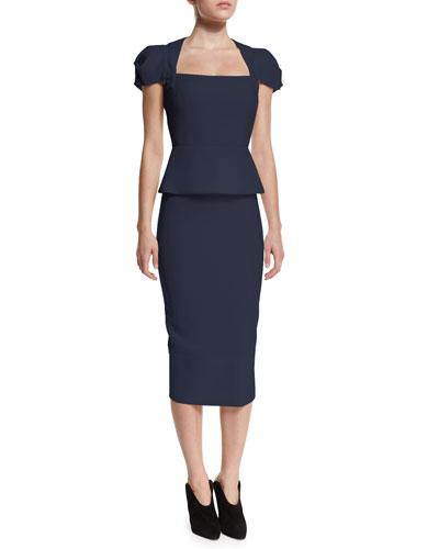 Galaxy Square-Neck Peplum Top & Galaxy Wool Pencil Skirt