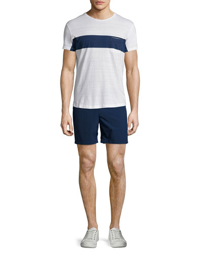 Chest-Stripe Short-Sleeve Tee & Bulldog Solid Swim Trunks