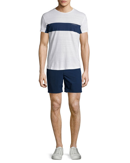 Chest-Stripe Short-Sleeve T-Shirt, Navy