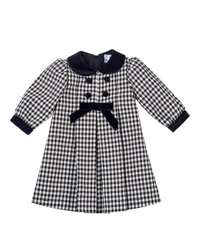 Long-Sleeve Pleated Gingham Dress, Black/White