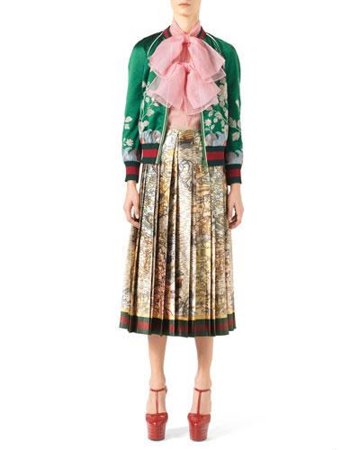 Duchess Silk Bomber Jacket, Silk Organza Double-Bow Sleeveless Top & Carta Marina Print Duchess Silk Skirt