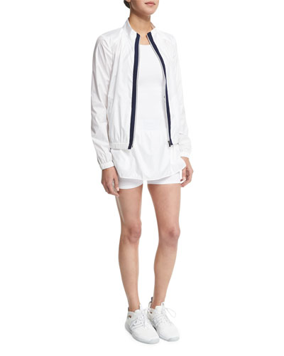 Training Jacket W/Contrast Stripe, Studio Mesh-Panel Athletic Tank Top & Side-Striped Training Skort
