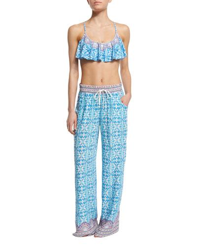 Seaside Tile Temptress Flutter Swim Top, Hipster Swim Bottom & Coverup Pants