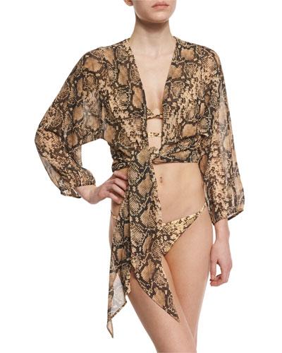 Python-Print Wrap Two-Piece Bikini Set & Python-Print Tie-Front Coverup Crop Top