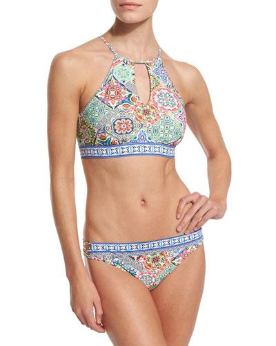 Greek Tiles Stargaze Printed High-Neck Swim Top & Charmer Printed Swim Bottom